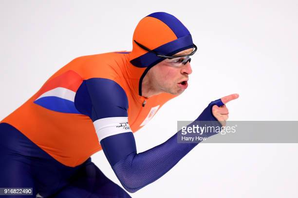 Sven Kramer of the Netherlands celebrates his time during the Men's 5000m Speed Skating event on day two of the PyeongChang 2018 Winter Olympic Games...