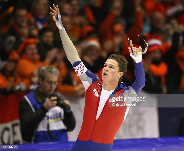 Sven Kramer of the Netherlands celebrates his victory after the 10000 meter men of the Essent ISU European Speed Skating Championships at the Thialf...