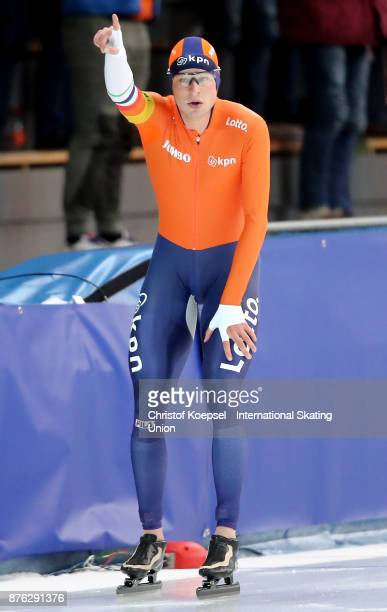 Sven Kramer of the Netherlands celebrates his victory in the men 10000m Division A during Day 3 of the ISU World Cup Speed Skating at Soermarka Arena...