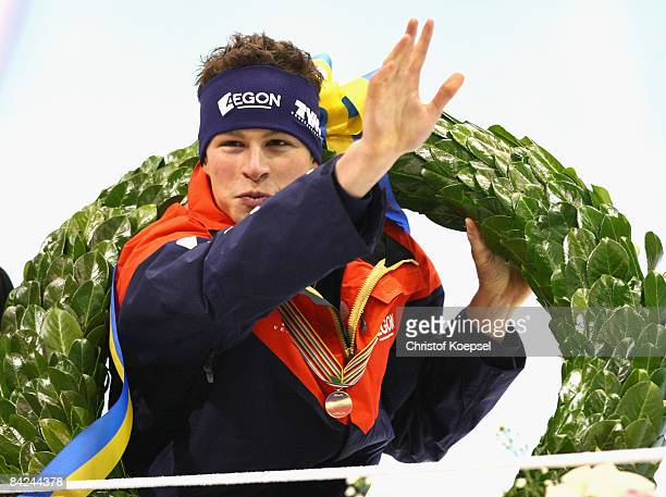 Sven Kramer of the Netherlands celebrates winning the European Championships in a carriage after the Essent ISU European Speed Skating Championships...