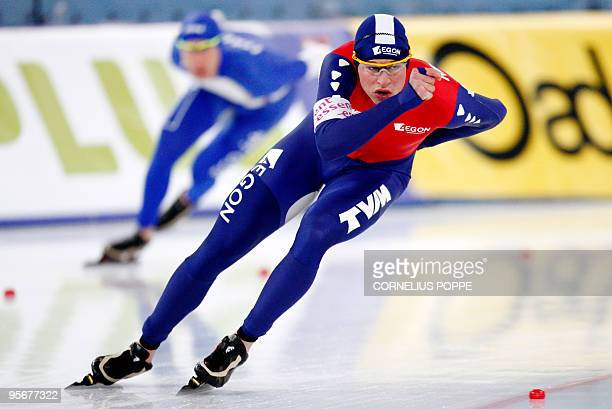 Sven Kramer of the Netherlands competes during the 1500m distance of the European Speedskating Championships in Hamar on January 10 2010 AFP PHOTO...