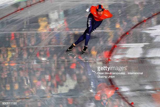 Sven Kramer of the Netherlands competes in the 10000m Mens race during the World Allround Speed Skating Championships at the Olympic Stadium on March...