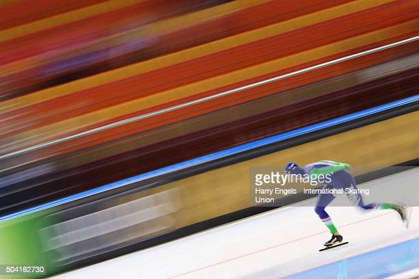 Sven Kramer of the Netherlands competes in the Men's 5000m on day one of the 2016 ISU European Speed Skating Championships at the Minsk Arena on...