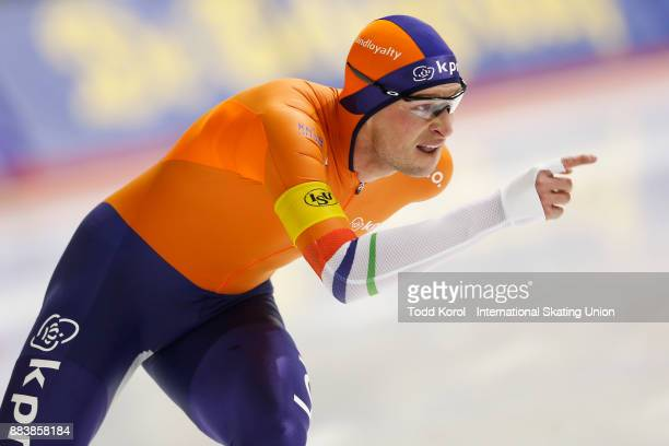Sven Kramer of the Netherlands races to a first place finish in the men's 5000 meter race during the ISU World Cup Speed Skating Championships...
