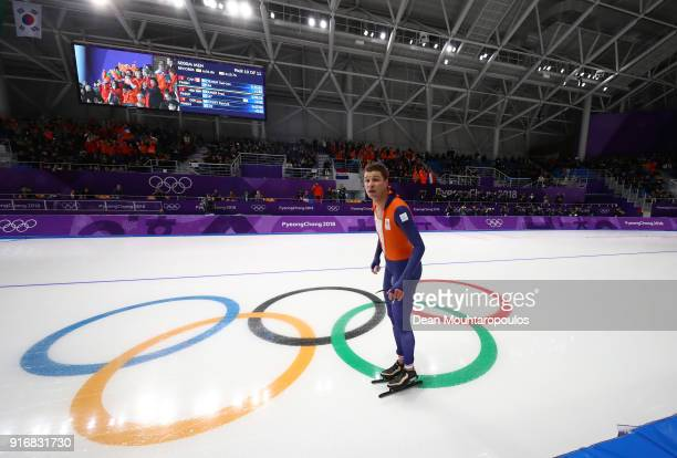 Sven Kramer of the Netherlands reacts after his Olympic record time to win the gold medal during the Men's 5000m Speed Skating event on day two of...