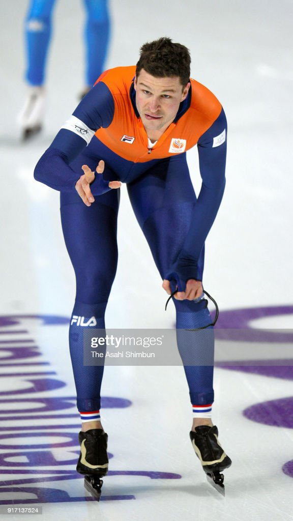 Sven Kramer of the Netherlands reacts after his Olympic record time to win the gold medal in the Men's 5000m Speed Skating event on day two of the PyeongChang 2018 Winter Olympic Games at Gangneung Oval on February 11, 2018 in Gangneung, South Korea.