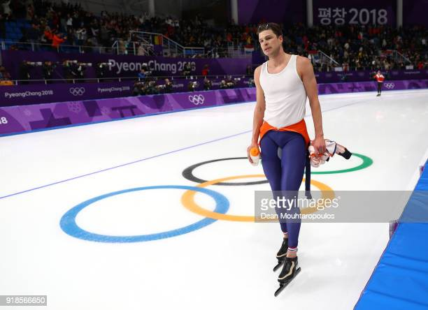Sven Kramer of the Netherlands reacts after placing sixth in the Speed Skating Men's 10,000m on day six of the PyeongChang 2018 Winter Olympic Games...