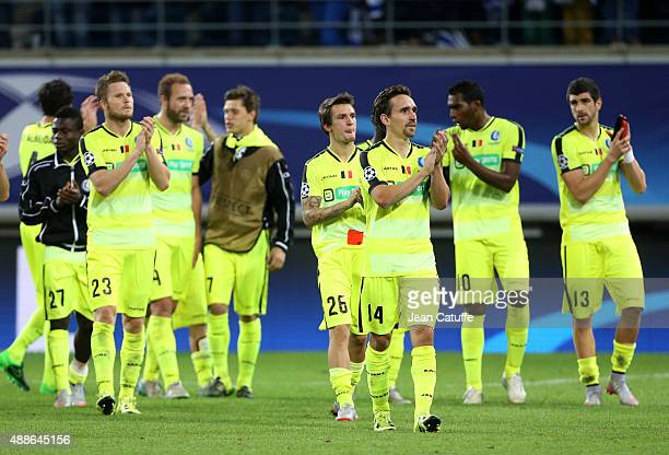 Sven Kums and teammates of KAA Gent celebrate their first point in their first match in Champions League during the UEFA Champions League match...