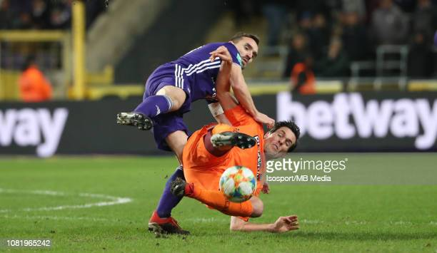 Sven Kums of Anderlecht and Jeremy Perbet of Charleroi fight for the ball during the Jupiler Pro League match between RSC Anderlecht and Royal...