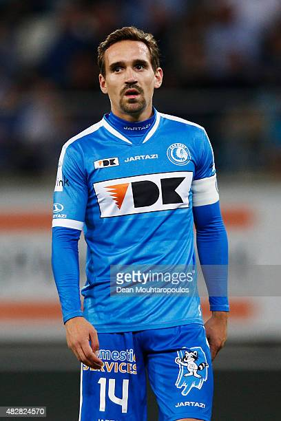 Sven Kums of Gent in action during the Jupiler League match between KAA Gent and KRC Genk held at the Ghelamco Arena on July 31 2015 in Gent Belgium