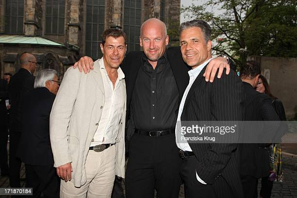 "Sven Martinek and Jens Schniedenharn And Karsten Speck In The ""Platinum wedding ring party 10 Marrying For Store Opening"" in Erfurt"