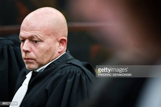 Sven Mary the Belgian lawyer representing Paris attacks suspect Belgianborn French national Salah Abdeslam sits in court during the trial at the...