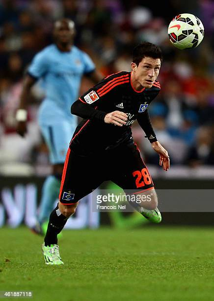 Sven Mende of Hamburg in action during the friendly match between Hamburg SV and Manchester City at Hazza bin Zayed Stadium on January 21 2015 in Al...
