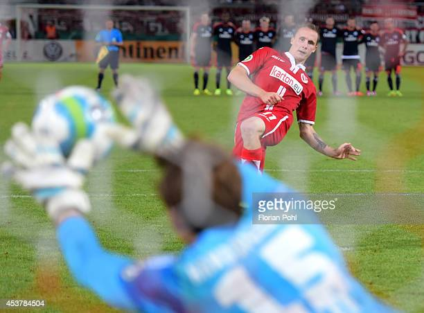 Sven Michel - FC Energie Cottbus fails to score from a penalty during the DFP Cup first round match between Energie Cottbus and Hamburger SV at...