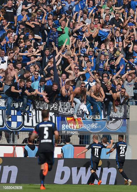 Sven Michel of Paderborn celebrates after scoring his team`s fifth goal with team mates during the Second Bundesliga match between 1 FC Koeln and SC...