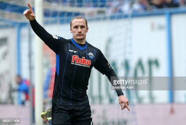 Sven Michel of Paderborn jubilates after scoring the fourth goal during the 3Liga match between FC Hansa Rostock and SC Paderborn 07 at Ostseestadion...
