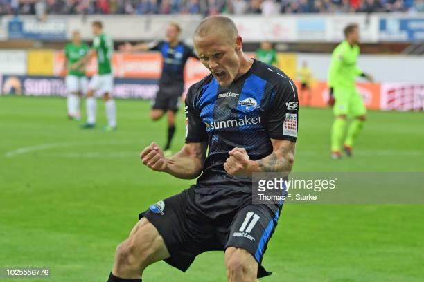 Sven Michel of Paderborner celebrates scoring his teams second goal during the Second Bundesliga match between SC Paderborn 07 and VfL Bochum 1848 at...