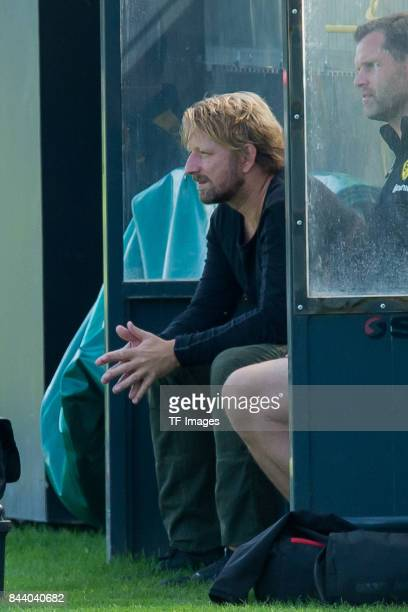 Sven Mislintat of Dortmund looks on during a training session at the BVB Training center on September 4 2017 in Dortmund Germany