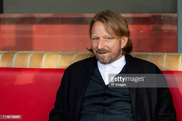 Sven Mislintat of VfB Stuttgart looks on prior to the Bundesliga playoff second leg match between 1 FC Union Berlin and VfB Stuttgart at Stadion an...