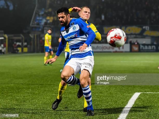 Sven Nieuwpoort of De Graafschap Andrejs Ciganiks of SC Cambuur during the Dutch Keuken Kampioen Divisie play off match between Cambuur Leeuwarden...