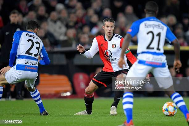 Sven Nieuwpoort of De Graafschap Robin van Persie of Feyenoord during the Dutch Eredivisie match between Feyenoord v De Graafschap at the Stadium...