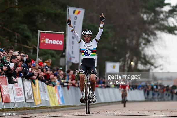 Sven Nys of Belgium celebrates winning the men's elite race during the Soudal Cyclocross Leuven event on January 19, 2014 in Leuven, Belgium. Sven...