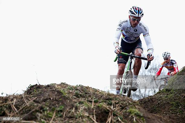Sven Nys of Belgium in action during the men's elite race during the Soudal Cyclocross Leuven event on January 19, 2014 in Leuven, Belgium. Sven Nys...