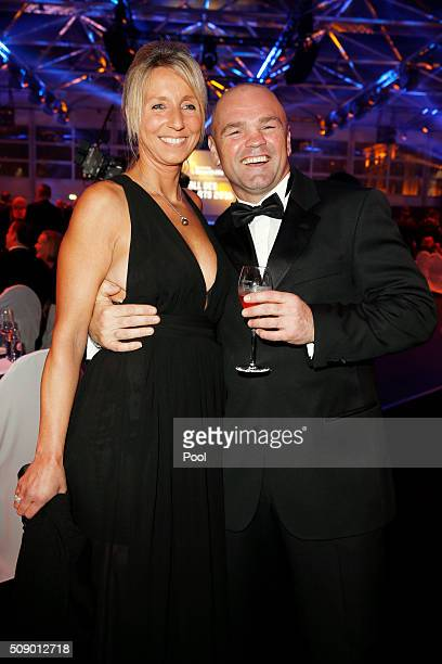 Sven Ottke and his wife Monic Frank attend the German Sports Gala 'Ball des Sports 2016' on February 6 2016 in Wiesbaden Germany