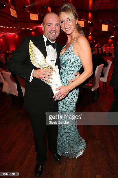 Sven Ottke with Meissen Pegasos Award and his wife Monique Ottke during the German Sports Media Ball at Alte Oper on November 7 2015 in Frankfurt am...