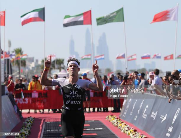 Sven Riederer of Switzerland finishes second in Ironman 703 Dubai on February 2 2018 in Dubai United Arab Emirates