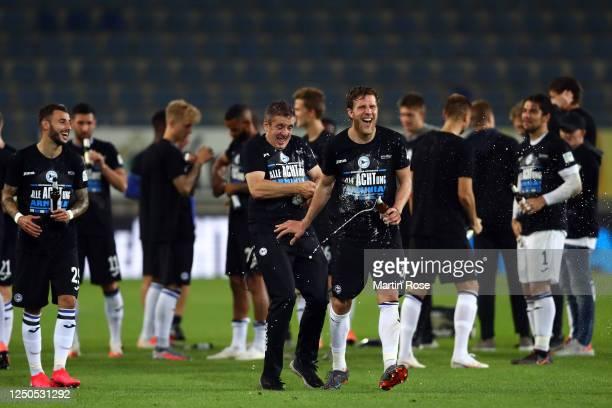 Sven Schipplock and the team of of Bielefeld celebrate the Second Bundesliga championship and promotion to the Bundesliga after the Second Bundesliga...