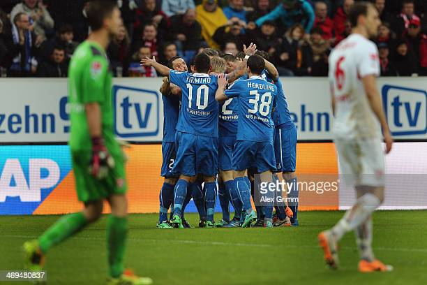 Sven Schipplock of Hoffenheim celebrates his team's first goal with team mates during the Bundesliga match between 1899 Hoffenheim and VfB Stuttgart...