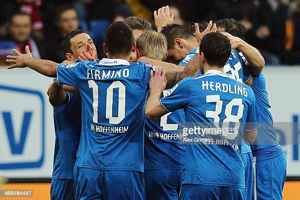 Sven Schipplock of Hoffenheim celebrates his team's first goal with team mates during the Bundesliga match between 1899 Hoffenheim and VfB Stuttgart...