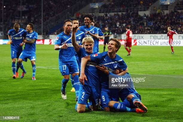 Sven Schipplock of Hoffenheim celebrates his team's fourth goal with team mates during the Bundesliga match between 1899 Hoffenheim and Hamburger SV...