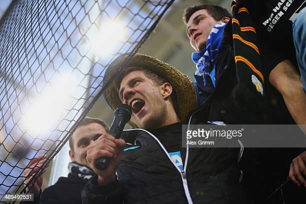 Sven Schipplock of Hoffenheim celebrates with the fans after the Bundesliga match between 1899 Hoffenheim and VfB Stuttgart on February 15 2014 in...