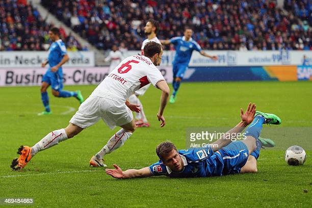 Sven Schipplock of Hoffenheim is challenged by Georg Niedermeier of Stuttgart during the Bundesliga match between 1899 Hoffenheim and VfB Stuttgart...