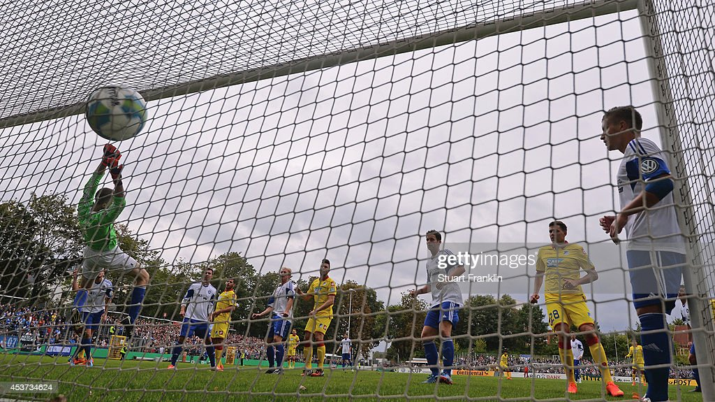 Sven Schipplock of Hoffenheim scores his fith goal, the teams eigth goal during the DFB Pokal first round match between USC Paloma and 1899 Hoffenheim on August 17, 2014 in Hamburg, Germany.
