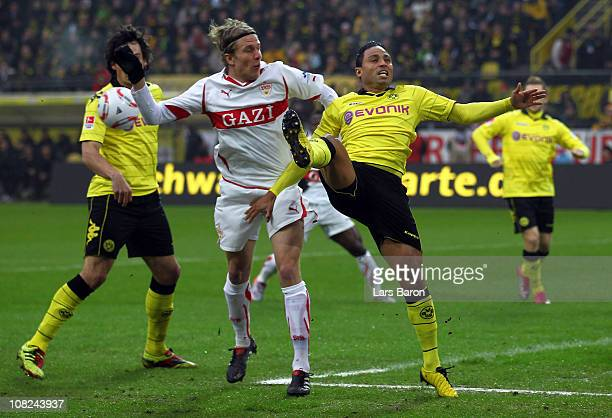 Sven Schipplock of Stuttgart challenges Antonio da Silva of Dortmund during the Bundesliga match between Borussia Dortmund and VfB Stuttgart at...