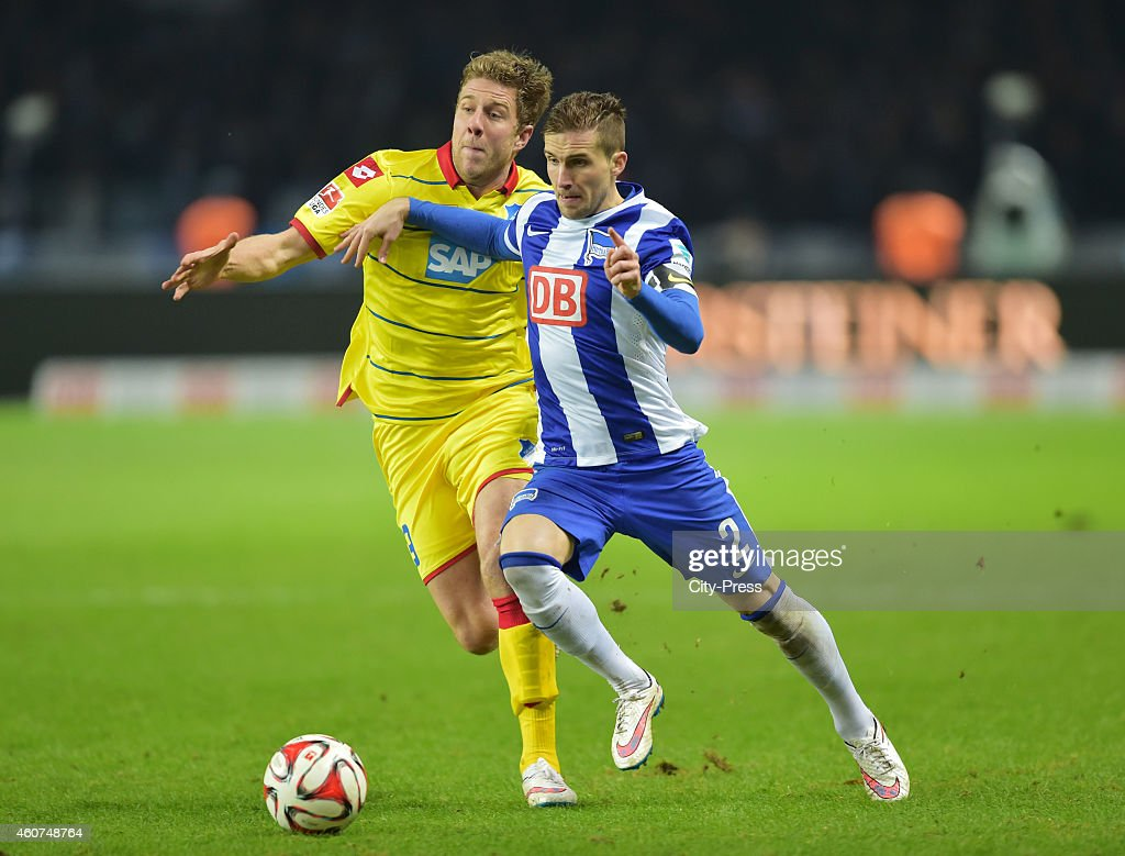 Sven Schipplock of the TSG 1899 Hoffenheim and Peter Pekarik of Hertha BSC in action during the game between Hertha BSC and TSG Hoffenheim on December 21, 2014 in Berlin, Germany.