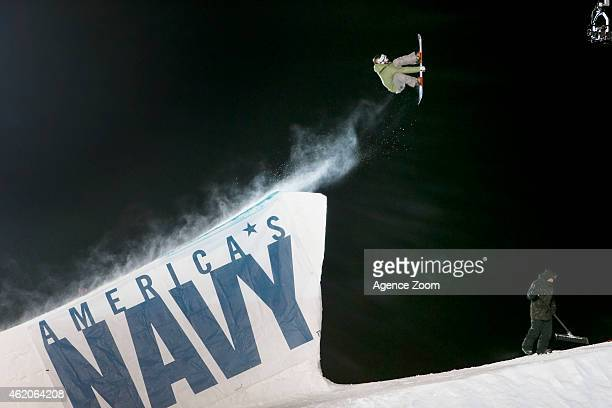 Sven Thorgren of Sweden competes during the Winter X Games America's Navy Snowboard Big Air on January 23 2015 in Aspen Colorado