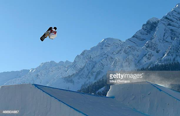 Sven Thorgren of Sweden practices during training for Snowboard Slopestyle at the Extreme Park at Rosa Khutor Mountain on February 5 2014 in Sochi...
