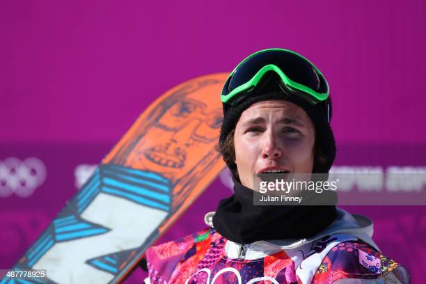 Sven Thorgren of Sweden reacts after receiving his score in his first run during the Snowboard Men's Slopestyle Final during day 1 of the Sochi 2014...