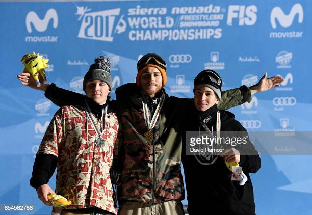 Sven Thorgren of Sweden Roope Tonteri of Finland and Chris Corning of USA celebrate their medal in the Men's Snowboard Big Air final on day 10 of the...