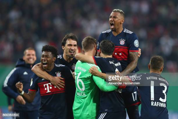 Sven Ulreich keeper of Bayern Muenchen celebrates victory with his team mates after winning the DFB Cup round 2 match between RB Leipzig and Bayern...