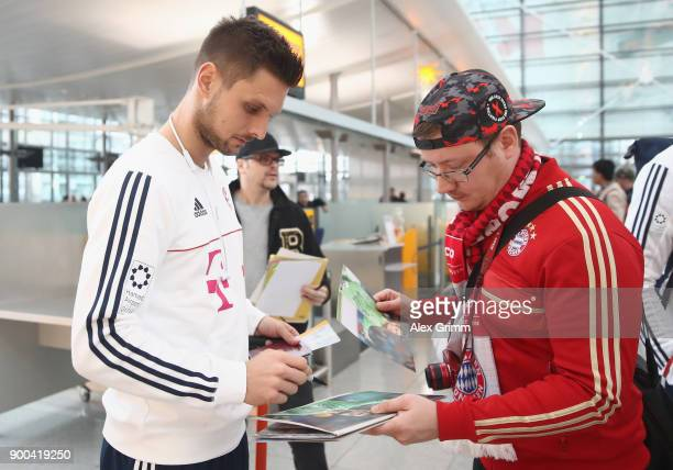Sven Ulreich of Bayern Muenchen arrives at the airport for the departure to the team's training camp in Doha Qatar on January 2 2018 in Munich Germany