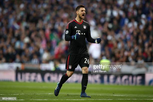 Sven Ulreich of Bayern Muenchen celebrates as Joshua Kimmich of Bayern Muenchen scores his sides first goal during the UEFA Champions League Semi...