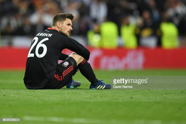 Sven Ulreich of Bayern Muenchen looks dejected as they fail to reach the final after the UEFA Champions League Semi Final Second Leg match between...
