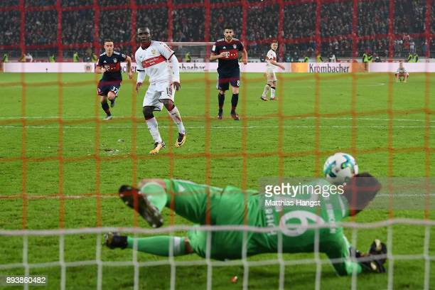 Sven Ulreich of Bayern Muenchen saves a penalty against Chadrac Akolo of Stuttgart during the Bundesliga match between VfB Stuttgart and FC Bayern...