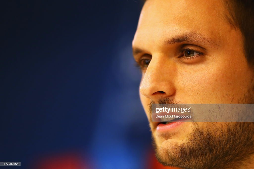 Sven Ulreich of Bayern Munich speaks to the media during the Press Conference held at the Constant Vanden Stock Stadium on November 21, 2017 in Brussels, Belgium. R.S.C. Anderlecht will play Bayern Munich in their Group B, Champions League match on the 22nd of November, 2017.