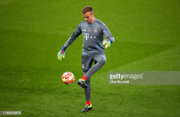 Sven Ulreich of Bayern Munich trains during the FC Bayern Muenchen Training Session ahead of the UEFA Champions League Round of 16 First Leg match...